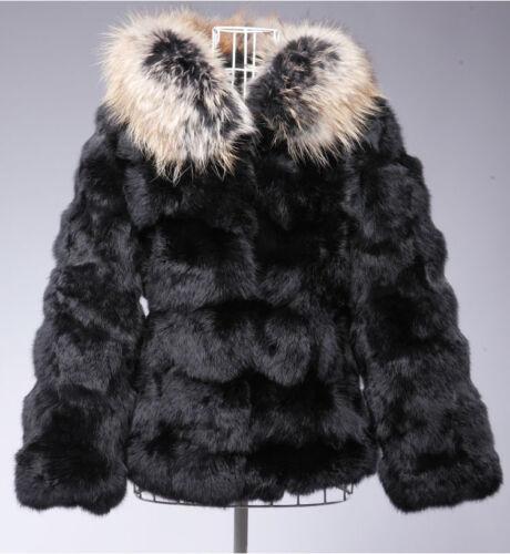 100/% real rabbit fur coat with hood women fur jacket with raccoon fur collar hot