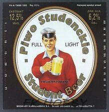 Poland Brewery Lwówek Student Beer Label Bieretikett Etiqueta Cerveza ls50.1