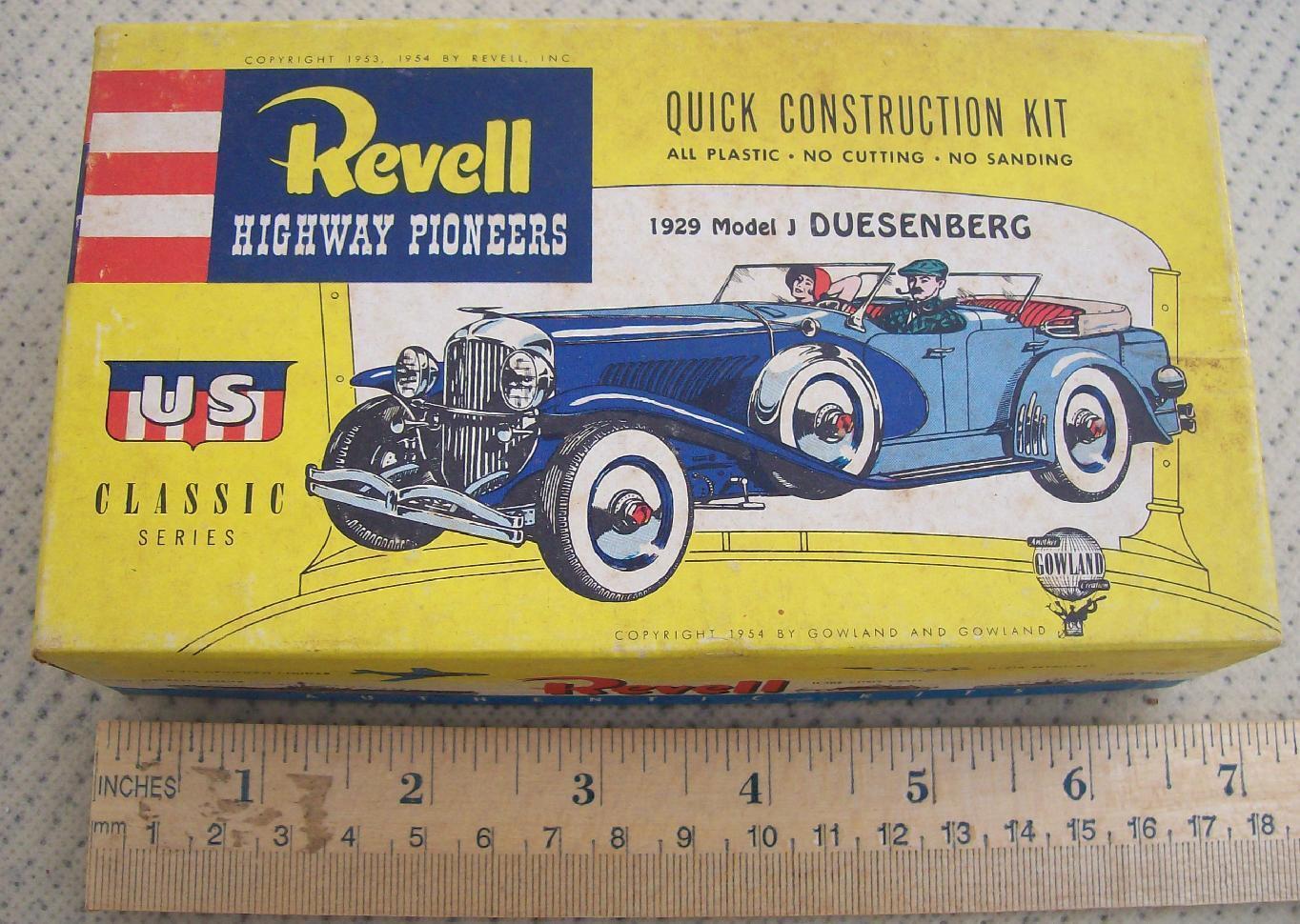 REVELL RARE RARE 1953   1954 DUESENBERG MODEL J 1929 MODEL KIT CONTENTS SEALED