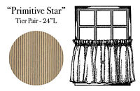 "WINDOW CURTAIN LINED TIER PAIR 24"" - PRIMITIVE STAR BY PARK DESIGNS - TAN BLACK"