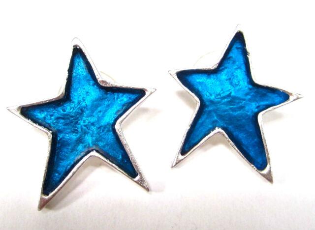 SoHo® Ohrstecker Stern silber Kunstharz blau retro resin star blue soho-soho