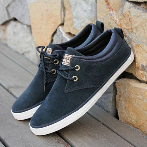 Uomo Casual  Matte Pelle British Style Lace Up Flat Canvas Shoes Casual