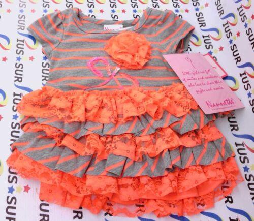 NSOP Nannette Baby-Girls Newborn 2 Piece Stripe Ruffle Dress Set Grey 3-6 Months