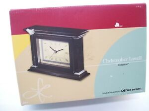 Black Column Desk Clock With Picture Frame Christopher Lowell
