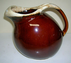 """Vtg Hull Pottery Brown Drip Glaze Pitcher w/ Ice Lip Oven Proof Made in USA 7.5"""""""