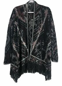 NWT-Lucky-Brand-Women-039-s-Boho-Fringed-Brushed-Knit-Cardigan-Aztec-Medium-129