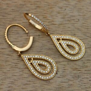 0-48Ct-Round-Cut-Diamond-Dangling-Drop-Earrings-14K-Yellow-Solid-Gold-Finish