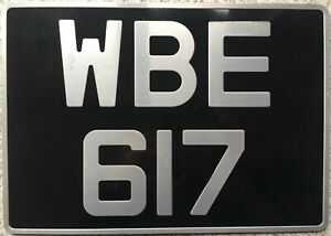 GENUINE-British-UK-Pressed-Aluminium-Number-License-Licence-Plate-WBE-617