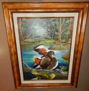 MANDARIN-DUCKS-original-oil-on-canvas-painting-artist-signed-framed-pond-birds