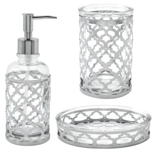 Modern Moroccan Glass Chrome Bathroom Accessory Set Soap Dish Dispenser Tumbler