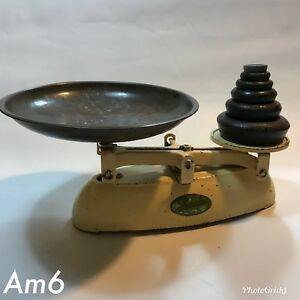 Vintage Lincoln Kitchen Balance Scales With Weights Ebay
