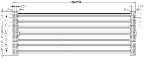 2Pcs 2.54mm Pitch 2x8 Pin 16 Pin 16 Wire IDC Flat Ribbon Cable Length 30cm