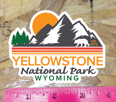 """Yellowstone National Park Wyoming Decal Sticker Vinyl 3.8/"""" vintage WY est"""