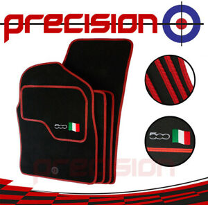Classic-Black-Carpet-Car-Mats-with-500-Logo-amp-Red-Solid-for-Fiat-500-07-12