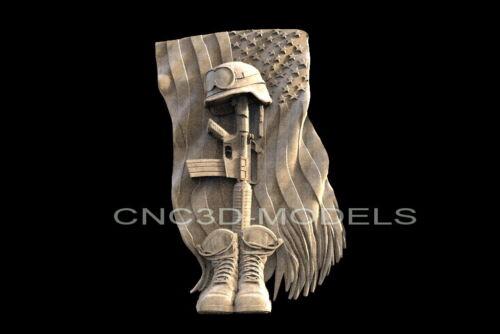 3D STL Models for CNC Router Carving Artcam Aspire USA Flag Boots Helmet H110
