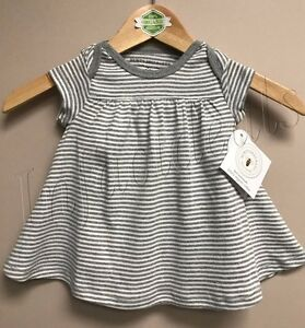Burt-039-s-Bees-Baby-Girl-100-Organic-Cotton-Stripe-Dress-Gray-size-6-9-Months-New