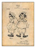 1915 Raggedy Ann Doll Patent Print Art Drawing Poster 18x24
