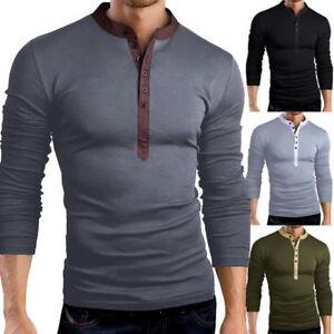 Herren-TShirt-Langarm-Shirt-Sweatshirt-Pullover-V-Ausschnitt-Slim-Fit-mit-Knopf
