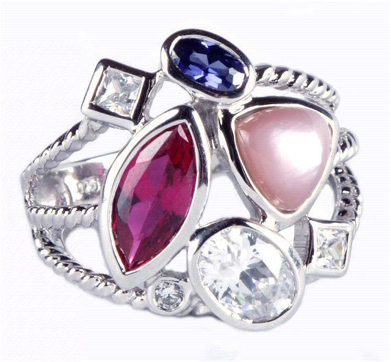 silver 925 Ring rhodiniert besetzt mit Zirkonia   Natursteinen Luxus Ring silver