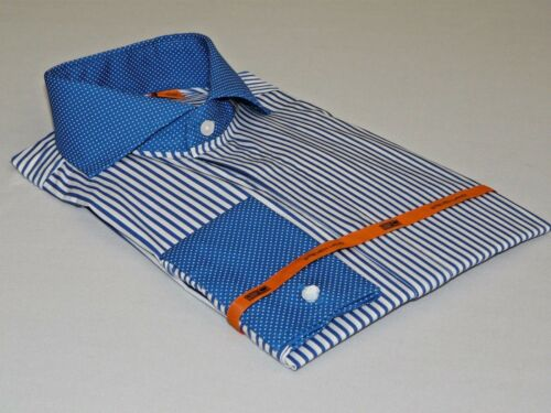 Mens Steven Land Dress Shirt French Cuffs Spread Collar Stripe DS1224 Royal Blue