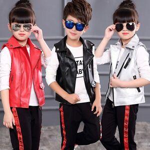 30fb5faf0 New Kids Children PU Leather Sleeveless vest Boys Girls Jackets punk ...