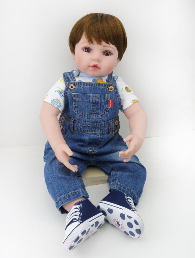 0e8da586ad0 24 Silicone Reborn Baby Boy Doll Lifelike Toy Handmade Kids Gifts Vinyl  Toddler nscqne2187-Reborn Dolls