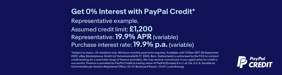 Learn more - Get 0% interest with PayPal Credit*