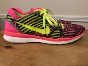 dfebe21df1c8b Nike Women s Nike Free 5.0 TR FIT PRT 704695 600 Pink Pow  Volt Blk ...