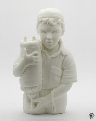 SHINLAMED WHITE DESIGNER VINYL ART FIGURE HASSIDIC KID HOLDING SEFER TORAH