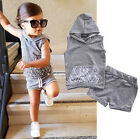 Casual Toddler Baby Girl Boy Hooded Top T-shirt+ Shorts Pants Outfit Set Clothes