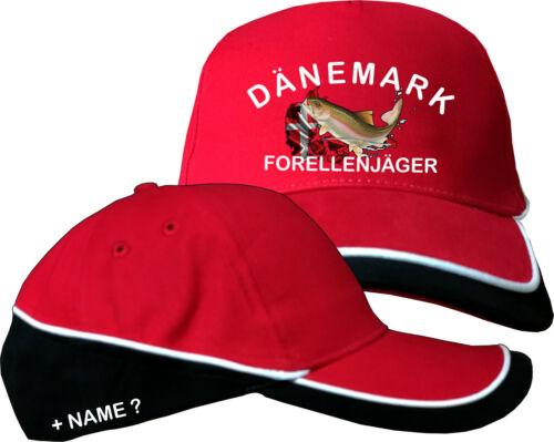 Dänemark Forellen Motiv Anglerhut Angler Angeln Basecap Baseball Kappe Mütze 66