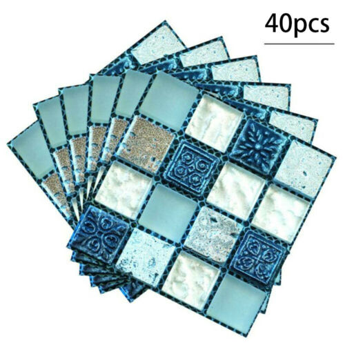 3D Mosaic Wall Tile Stickers Stick On Kitchen Self-adhesive Bathroom Decal