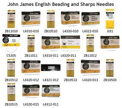 25 #11 John James English Beading Needles Fine//Medium for Size 11//o Seed Beads