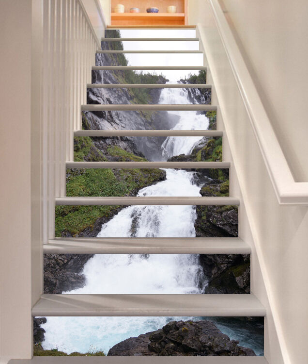 3D Mountain falls 9 Stair Risers Decoration Photo Mural Vinyl Decal Wallpaper UK