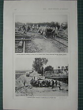 1915 WWI WW1 PRINT ~ GERMAN MOTOR TRANSPORT POLISH ROAD ~ BUILDING RAILWAY LINES