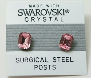 Pink Rectangle Stud Earrings 7mm Light Crystal Made with Swarovski