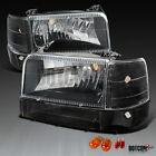 92-96 F150/250/350 Bronco Black Clear Headlights Bumper Corner Signal Lamps