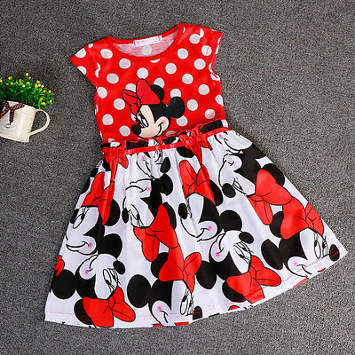 Bebe Girl Minnie Cute Clothes Baby Dress Kids Tops Children Clothing Gifts 2-7Y