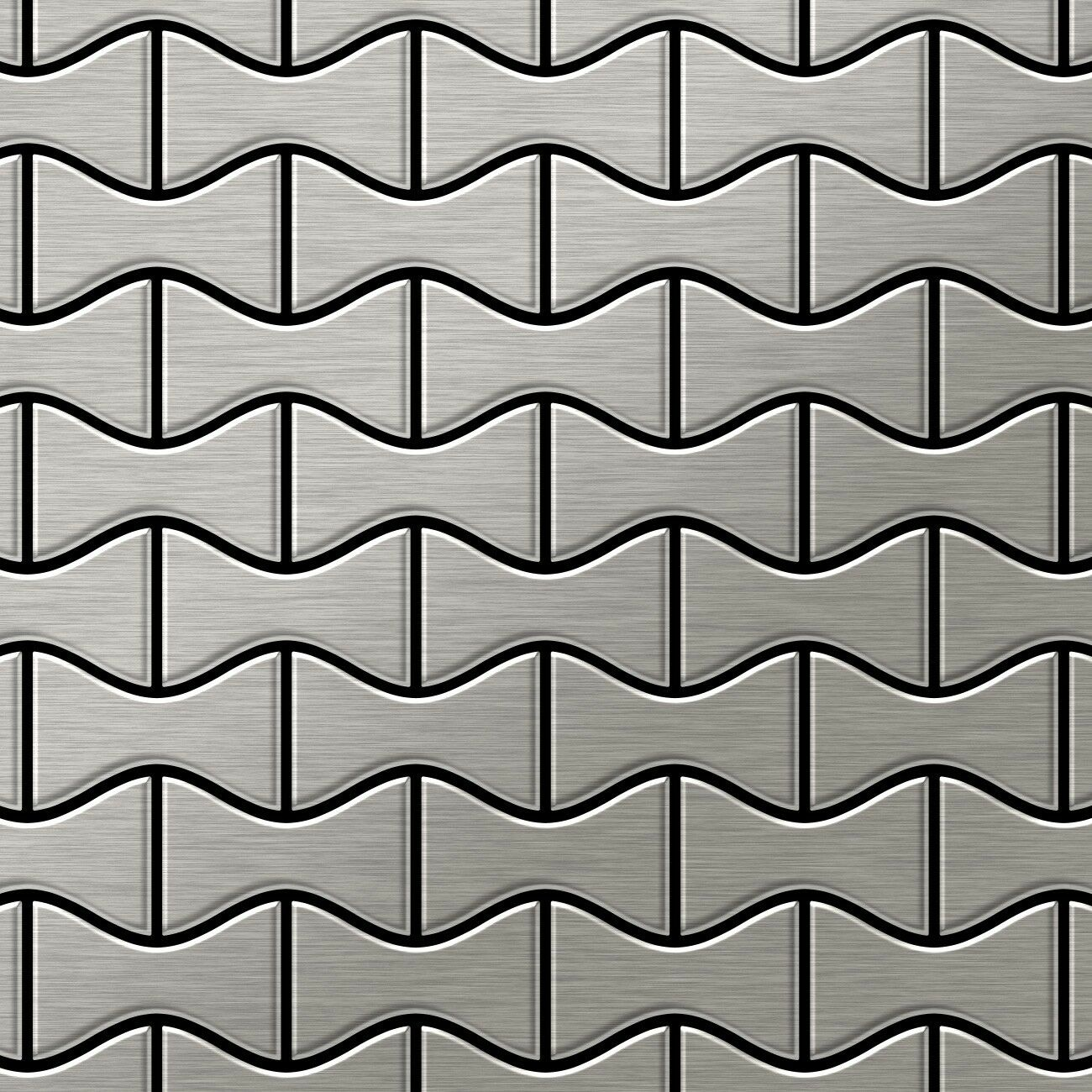 Metal Mosaic Tile Stainless Steel brushed grau 1,6mm Kismet-S-S-B