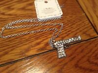 Fashion Jewelry Silver Tone Chain With Rhinestone Look Studded Hand Gun