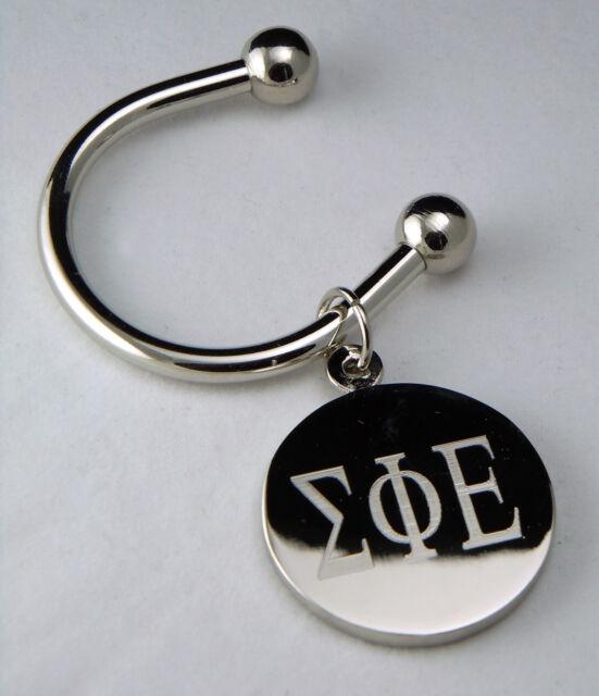 Sigma Phi Epsilon, ΣΦΕ, Key Ring Greek Letter Silver Plate Disk Non Tarnish