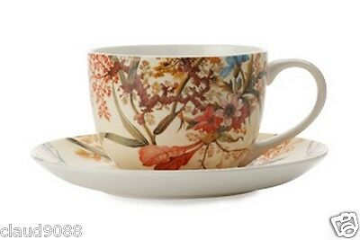 M & W WILLIAM KILBURN COTTAGE BLOSSOM COUPE CUP&SAUCER 250ml WK00250 GB MINT