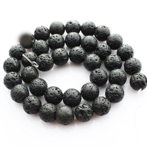 4-12 mm noir VOLCANIQUE lave santé Gemstone Loose Beads Spacer Strand Bijoux À faire soi-même