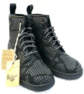 Dr ALL SIZES SALE Martens Newton 8-Eye Black Temperley Leather Boots 21856001