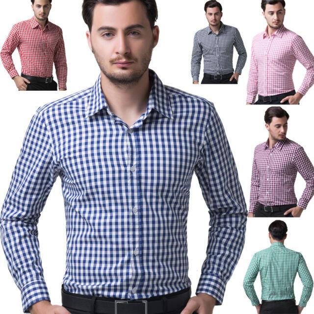 New Smart Mens Casual Slim Fit Shirt Business Dress Shirts Tops Work Basic Shirt