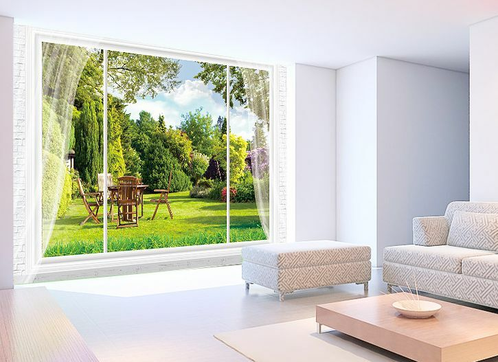 3D Windows and Vegetation Paper Wall Print Decal Wall Deco Indoor wall Murals