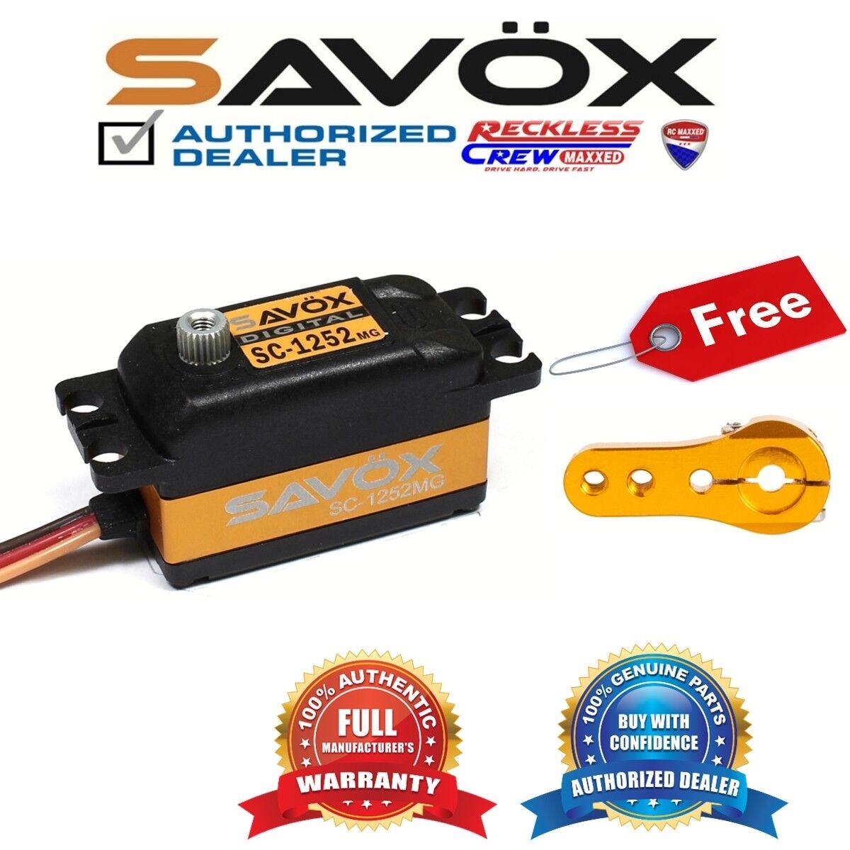 Savox SC-1252MG de alta velocidad de bajo perfil Servo + Gratis Aluminio Servo Cuerno de oro