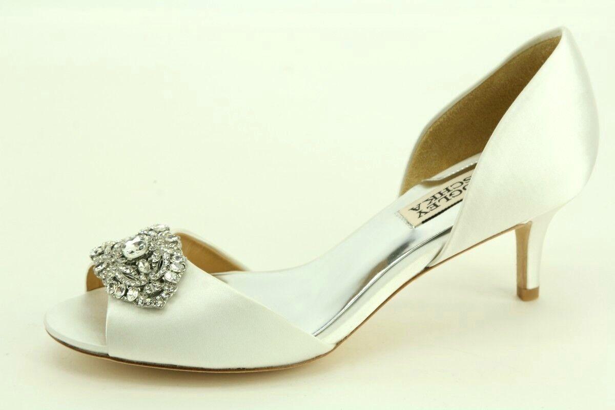 NEW  215 Badgley Mischka Petrina White Satin d'Orsay Pumps size 5.5 Dress shoes