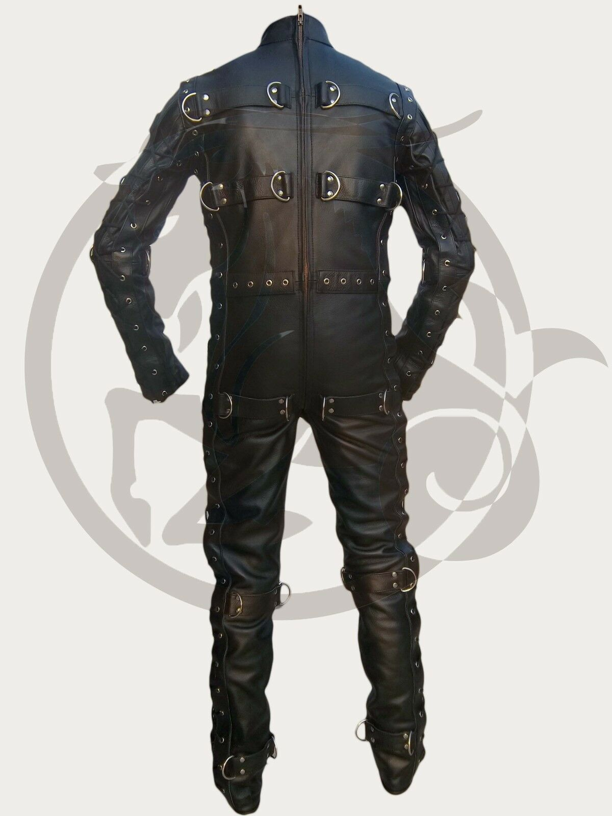 Cow Leather Bondage Suit Jumpsuit Catsuit Lacing and Welded D rings Bespoke