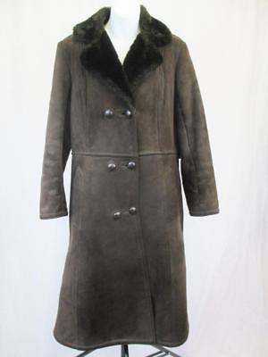 12 M-vintage Anni'60 Borg Da Donna Marrone Pelle Di Pecora Stile Cappotto Shearling-l747- Valore Eccezionale